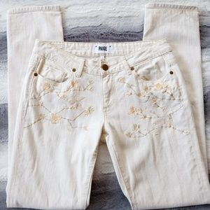 Paige Embroidered Jimmy Jimmy Skinny Jeans 25